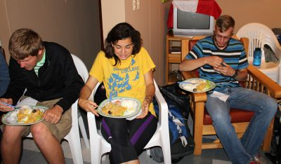 Dean, Gretchen and Jackson enjoy their final meal at Casa Goshen.