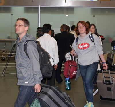 Stefan, Sierra and Jaime emerge from customs at the Lima airport.