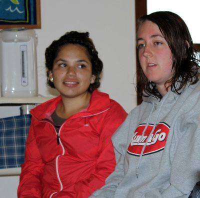 Sierra, right, talks about her service teaching small children. Edith, listens, with appreciation.