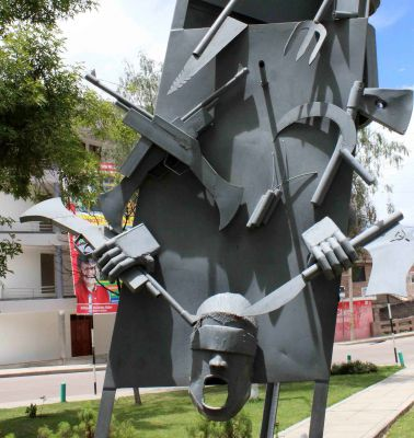 A sculpture in the Parque de Memoria (Memory Park) in Ayacucho depicts a blindfolded victim of the Shining Path war who was threatened by both the leftist rebels and the Peruvian military.