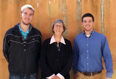 Matt and Brian with Sister Patricia Day, the Catholic school's sub-director.
