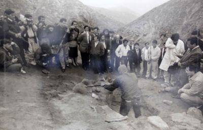 The exhumation of the bodies of nine students and one professor in July 1992. A year earlier, they had been arrested,  executed and secretly buried by an army death squad.