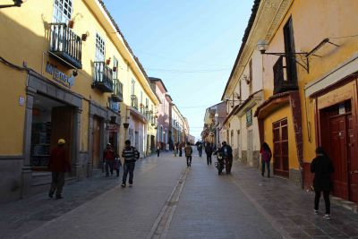 A colorful street in Ayacucho.
