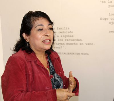 Peru SST Study Coordinator Celia Vasquez tells students what it was like to live through the Shining Path war in Lima.