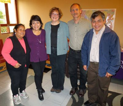 Equipo Goshen (Team Goshen) for 2014-2015 (from left): Program Assistant Alicia Taipe Tello; Study Coordinator Celia Vasquez, Peru SST Co-Directors Karen Sherer Stoltzfus and Duane Stoltzfus; and Service Coordinator Willy Villavicencio.
