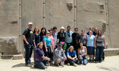 Group photo in front of the amazing Inca stone work.