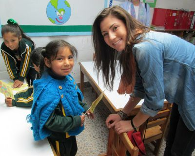 Maddie talks with a little girl in her classroom at Promesa school in San Jeronimo.