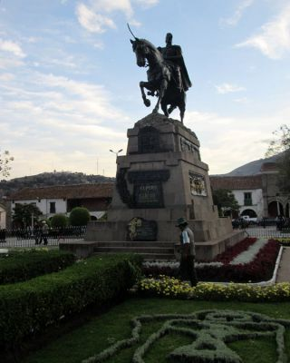 Statue of Sucre in the Plaza Mayor in Ayacucho.