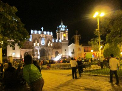 The Plaza Mayor of Ayacucho is THE place to be on a Friday night, with lots of music, dancing and fireworks.