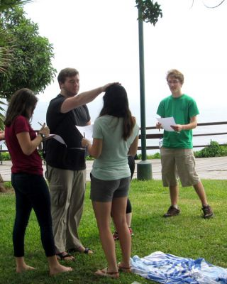 Ammon offers Maria a blessing during one of our get-acquainted games.