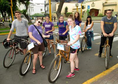 After renting bikes, the group prepares to ride.
