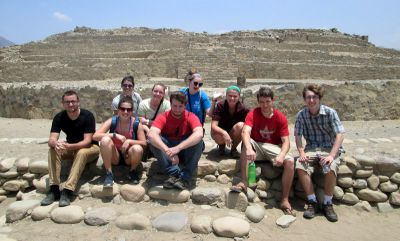 A group photo in front of the main pyramid.