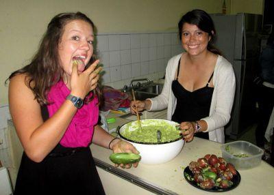 Lea and Maria prepare Maria's family recipe for guacamole.