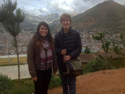 Maria and Christian arrive at Fe y Alegria school above the city of Tarma.