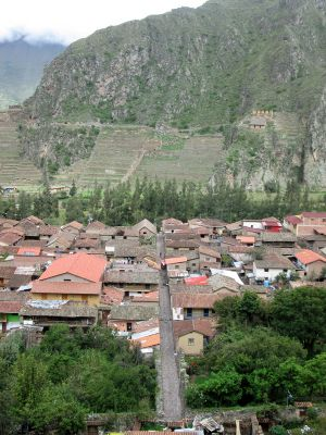 A view of Ollantaytambo and the fortress on the other side of town.