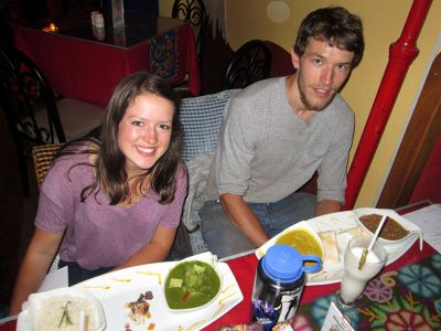 Lea and Micah at the restaurant Aldea Yanapay, which raises money to help Cusco area children.
