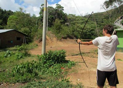 David demonstrates his ability with a bow and arrow.
