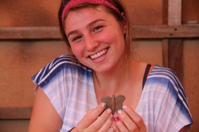 Lena is very proud of her mariposa!
