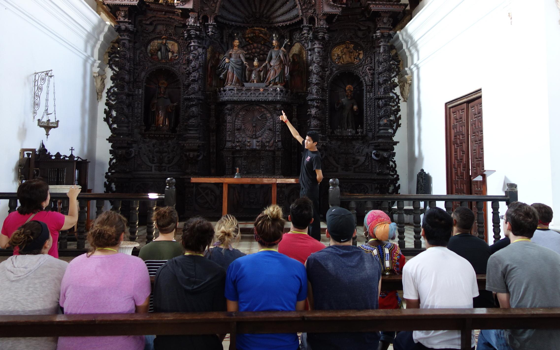 wood altar of the Jesuit chapel