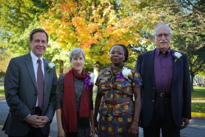 Alumni Awardees (From left): Dr. Doug Schwartzentruber '78, Aletha Stahl '89, Ellah Wakatama Allfrey '88, and James Gingerich '66