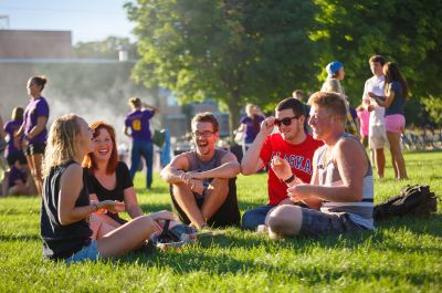 New students getting to know each other during a campus event at Goshen College.
