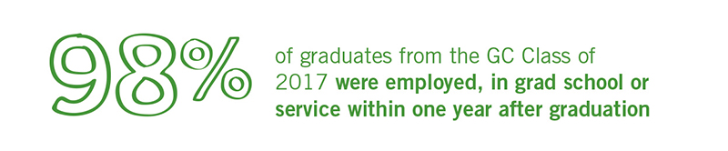 98 percent of graduates from the Goshen College Class of 2017 were employed, in grad school or service within one year after graduation.