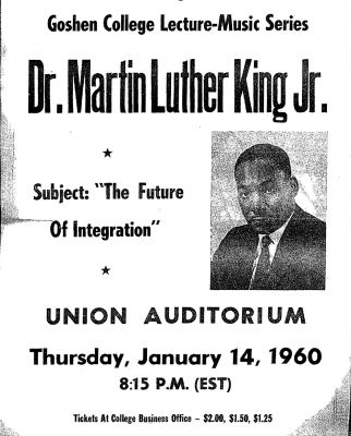 Poster announcement of Dr. King's visit and lecture at Goshen College.