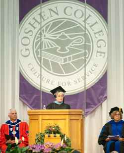 At 113th Goshen College commencement, human rights activist encourages graduates to bring hope and compassion to a broken world