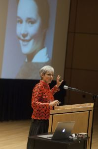 Former GC President Shirley H. Showalter speaks about her memior, Blush, during an Afternoon Sabbatical on Oct. 8.