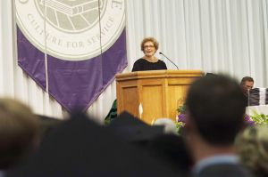 Goshen College commencement speaker Joyce Bontrager Lehman told graduates to make bold choices and not to be afraid to make career- and life-altering changes.