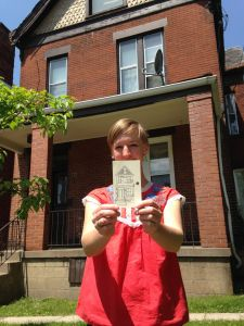Abbie Miller, with her drawing of 725 N. Euclid Ave. photo by Diana Nelson Jones.