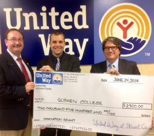 (L-R) Bill Rieth, President/CEO United Way of Elkhart County; Seth Conley, associate professor of communication at Goshen College and assistant director of Write on Sports Goshen; and Todd Yoder, major gifts office at Goshen College and Write on Sports Goshen board member.