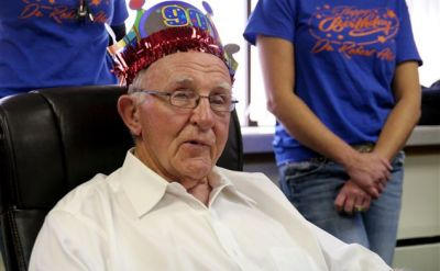 Wakarusa celebrates 90th birthday of veteran and doctor Robert Abel '45, who served community for 64 years