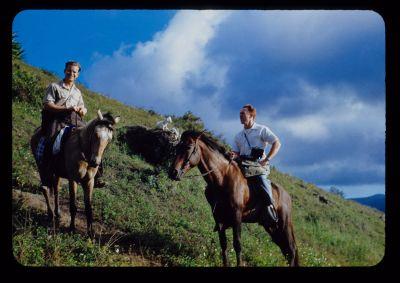 Two unidentified Mennonite mission workers on horseback in Puerto Rico, early 1950s. (Photo by Luke Birky, courtesy of Tom Lehman, www.flickr.com/photos/tlehman/)