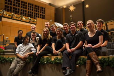 "GC students and faculty from FiveCore Media worked on the filming of the 2014 ""A Festival of Carols"" performance at Goshen College. (Photo courtesy of FiveCore Media)"