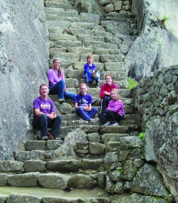 Jerrell, Jane, Naomi, Jordan, Sierra and Teresa Ross Richer take a break from a hike at Machu Picchu in May 2013.