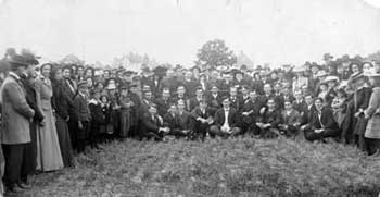 Groundbreaking of Goshen College in a wheat field on the Shoup farm at the south end of Eighth Street in June 1903 (Goshen College archives)
