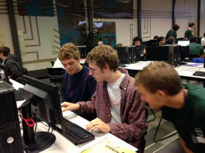 Seth Yoder, Kenan Bitikofer and Christian Stoltzfus comptete at the ACM regional programming contest on Oc.t 30, 2015.