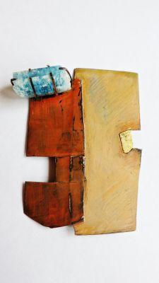 "Fields of Orange Brooch copper, paint, 22k gold leaf, aquamarine 3 x 4.25 x .75"" 2013"