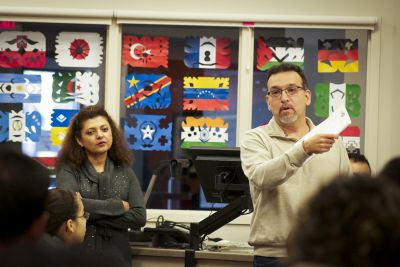 Gilberto Perez, senior director of intercultural development and educational partnerships at Goshen College, speaks at a workshop in January 2015. Rocio Diaz, Coordinator of Intercultural Community Engagement, looks on.