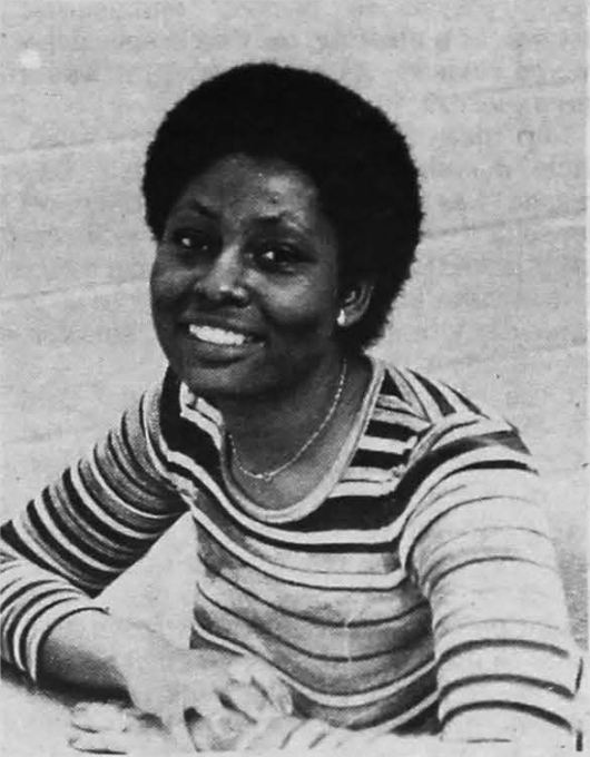 Sylvia Dyson, the first full-time director of the Cross Cultural Relations Center. Photo by Winston Gerig, The Goshen College Record - Vol. 88 No. 2 (September 22, 1978).