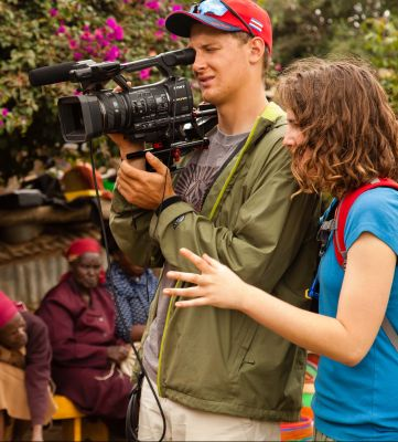 David Leaman-Miller and Elizabeth Derstine film a documentary in Kenya in Spring 2014.
