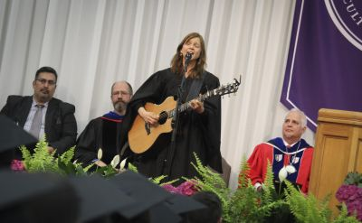 Carrie Newcomer encourages graduates to 'be true, be kind and pay attention' with words and song at 118th commencement