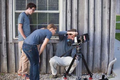 (L-R) Jesse Bontreger, Carley Wyse and David Leaman-Miller work on a shoot at Merry Lea Environmental Learning Center.