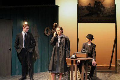 "Ian Keim (left), Lea Ramer (center) and Ben Meyer Reimer act in ""Red Herring"" (Photo by Katie McKinnell)"