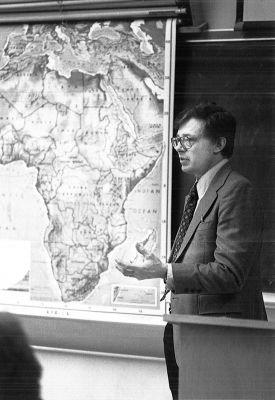 Jim Hertzler teaches a history class in 1981