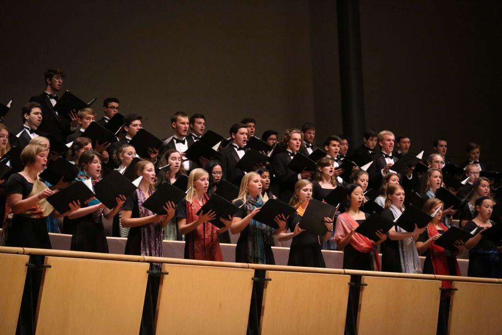 Goshen College choirs singing