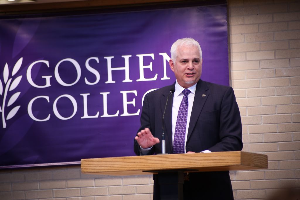 President James E. Brenneman delivers his farewell address
