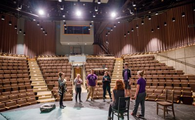 Students rehearsing on Umble Center Stage