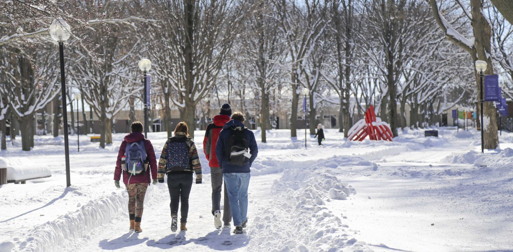 Multiple students heading to class after a heavy snow.